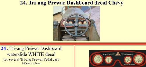24 Tri-ang Prewar Dashboard decal Chevy